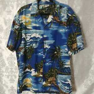 Aloha-Republic-X-Large-Mens-Blue-Palm-Trees-Sunset-Beach-Hawaiian-Shirt