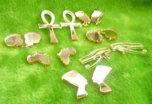 África Aretes Oro o Plata Espejo Acrílico Peine Afro Nefertiti Ankh Ojo