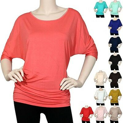 IRON PUPPY Plus Size Dolman MODAL BoatNeck Half/Slv Batwing Top Shirts Loose fit