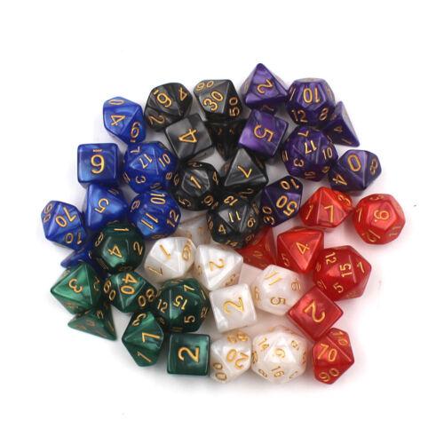 7pcs//lot  Sided Gem Dice Die for DRAGONS RPG Dice Game d4 d6 d8 d10 d10 d12 Blue