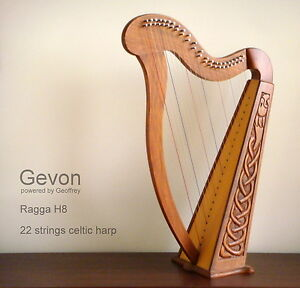 Gevon-22-Strings-Rosewood-Celtic-Irish-Harp-Carry-bag-Book-Ragga-H8