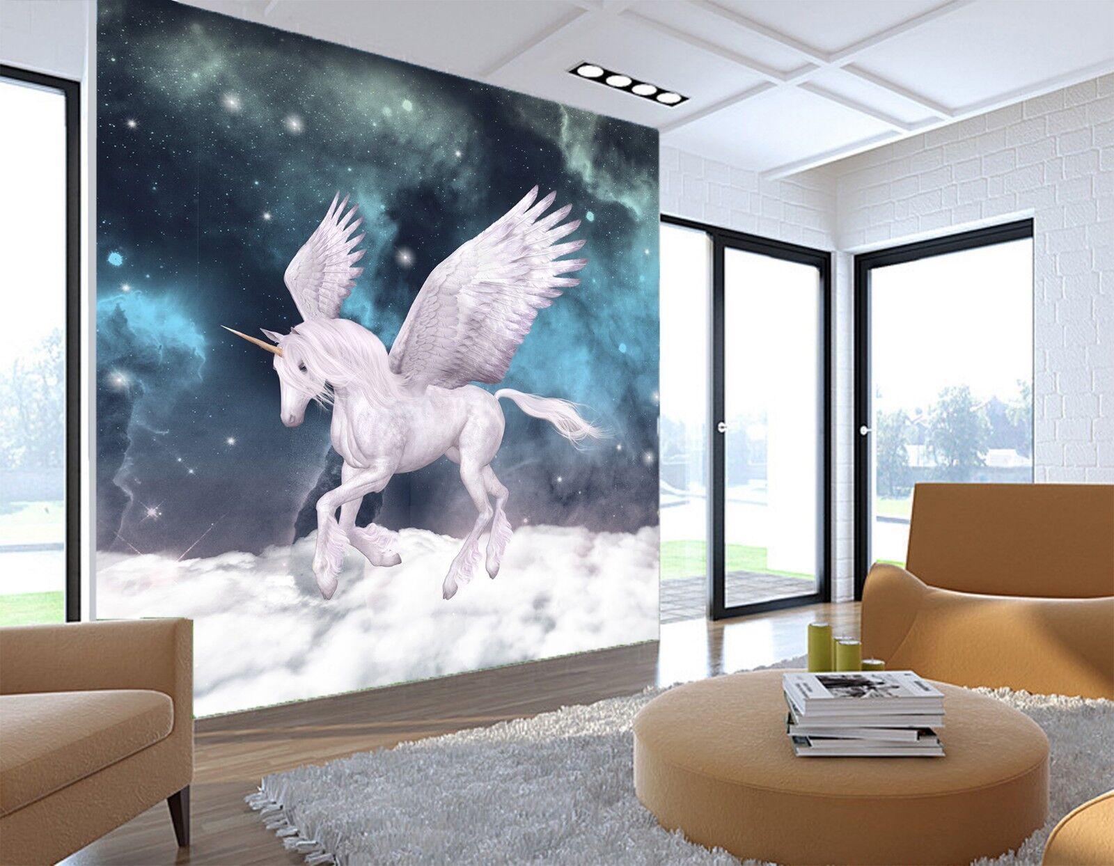 3D Unicorn Cloud Starry 82 Wallpaper Mural Print Wall Indoor Wallpaper Murals UK