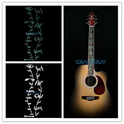 2pcs Silver and Green Tree Of Life Guitar or Bass Fretboard Inlay Sticker Decal