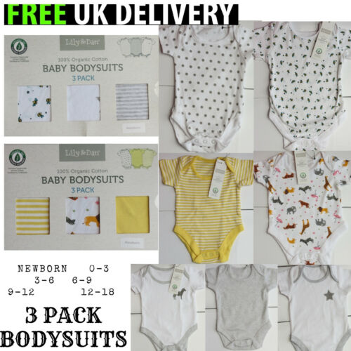newborn baby girls cotton 3 pack bodysuits vests romper NEW BOXED yellow animals