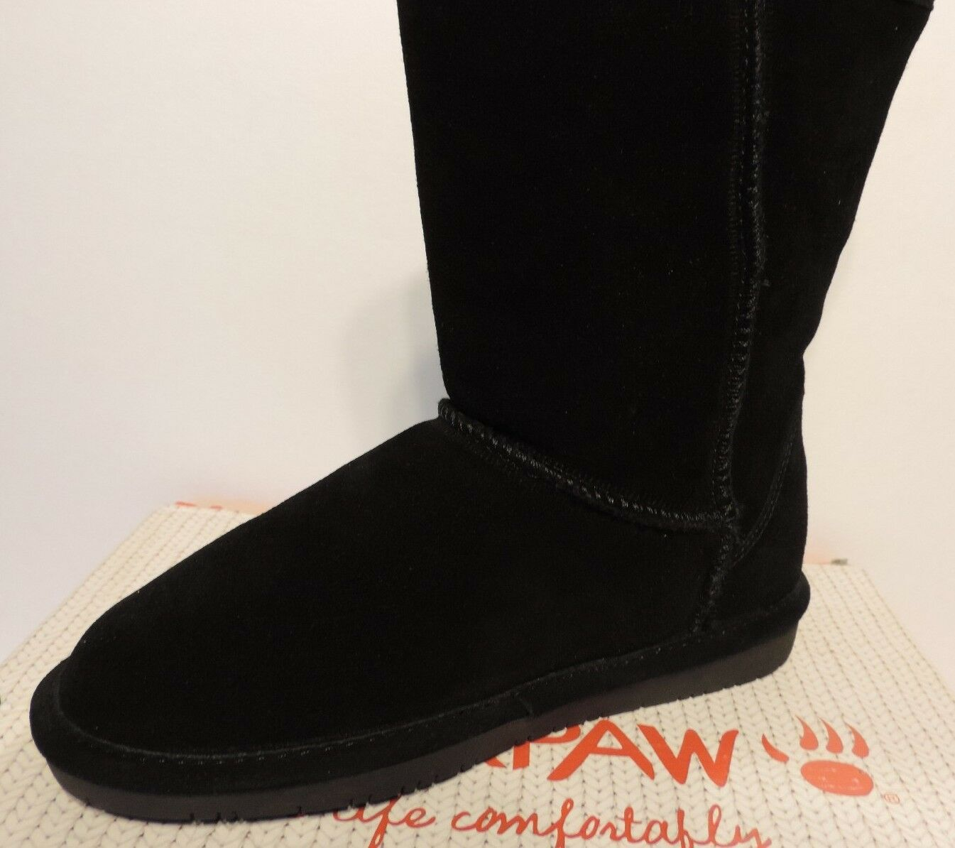 New Bearpaw Emma Short 8 608W black Cow Suede Upper Sheepskin wool blend
