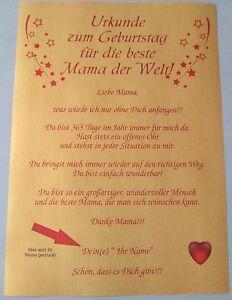 Urkunde Zum Geburtstag Fur Die Beste Mama Der Welt Goldenes Papier