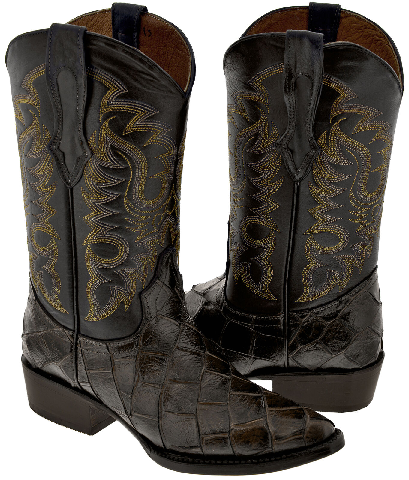 Mens Brown Pirarucu Fish Print Leather Cowboy Boots J Toe Western Rodeo Riding