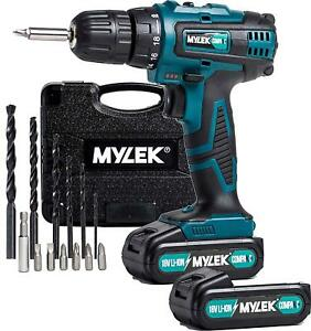 Mylek 18V Cordless Drill Lithium Ion Combi Driver Screwdriver 2 Li Ion Batteries 5060478898658