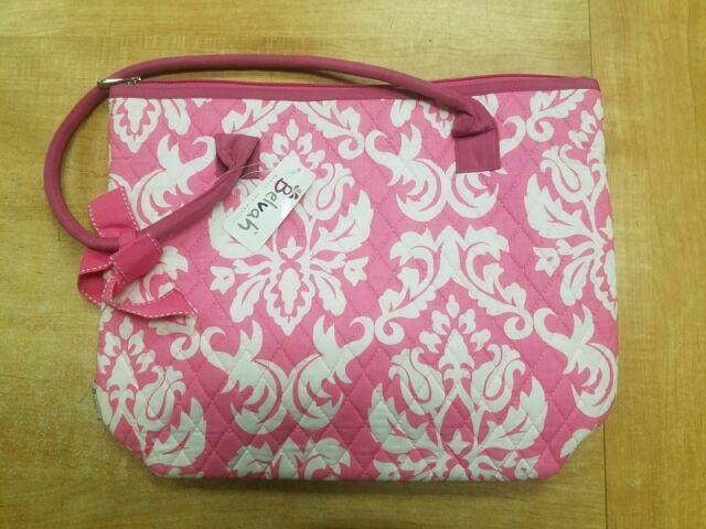 Belvah Large Quilted Damask Tote Handbag, Pink/White