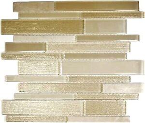Glas Naturstein Mosaik beige Fliesenspiegel Duschwand Küche 67-GV14 ...