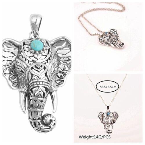 Choker Charming Metal Bohemia Elephant Pendants Silver Necklaces Turquoise