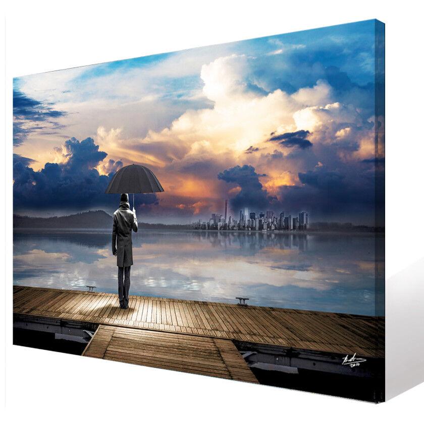 Landschaft Himmel See Mann Bilder auf Leinwand Abstrakt Kunst Wandbild 1824A