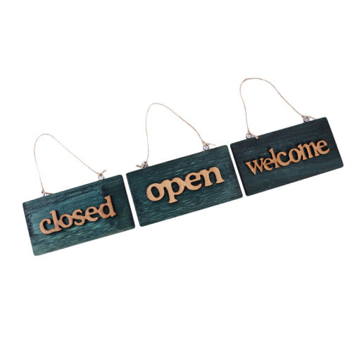 Welcome Sign Closed Open Wooden Vintage Plate Cafe Door Hanging Poster S