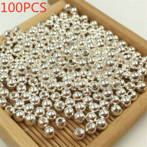 100X Sterling Silver Round Ball Beads for Jewelry Making Findings Accessories