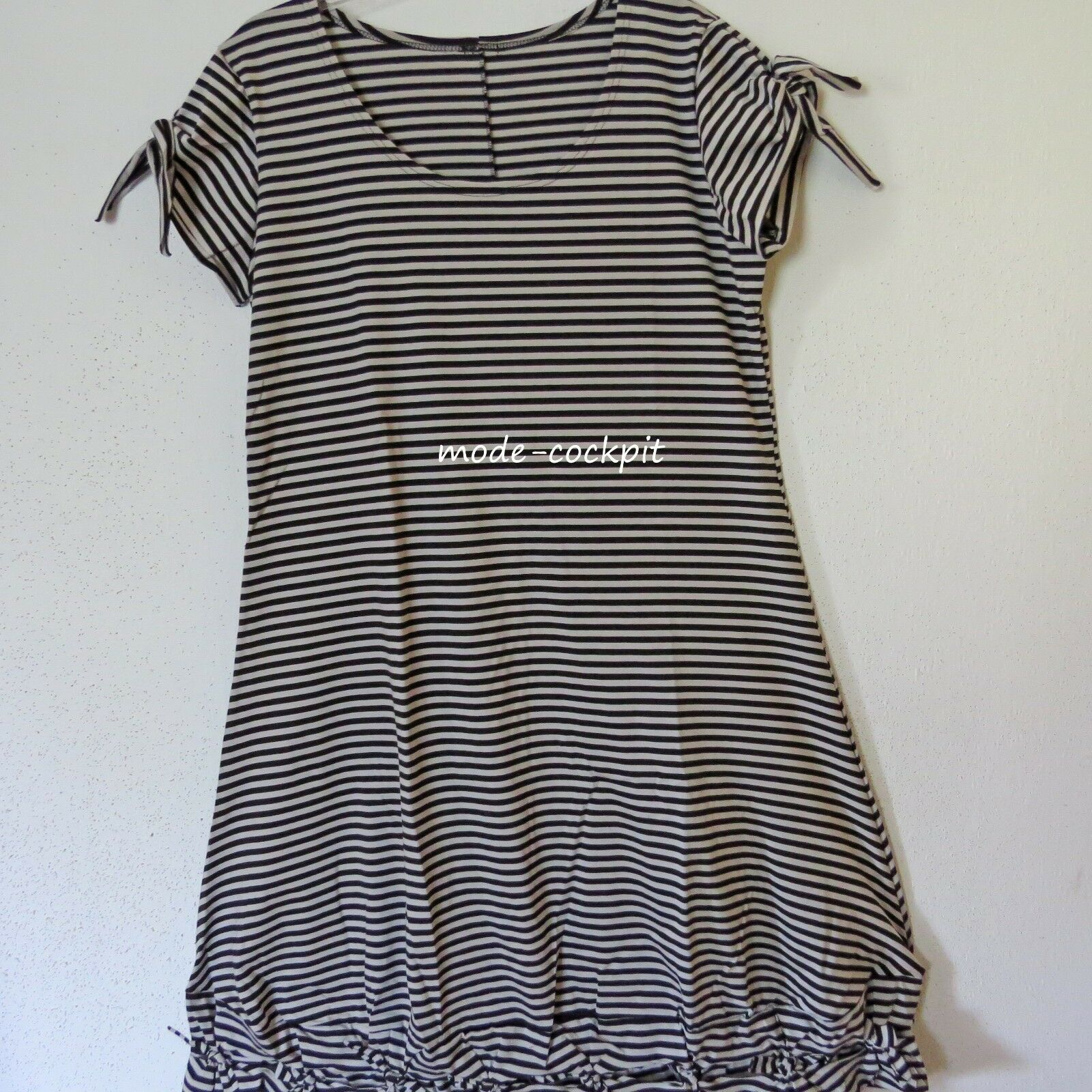 BORIS INDUSTRIES süßes Shirt Kleid Knotensaum Baumwolle schwarz-silbergrau 48(5)