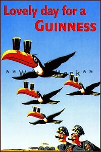 Toucan Guinness Time Vintage Poster Print Retro Art Home Bar Decoration
