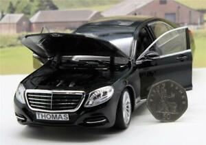 PERSONALISED PLATE GIFT 18cm 1/24 Black Mercedes-Benz S Class Model Boy Dad Box
