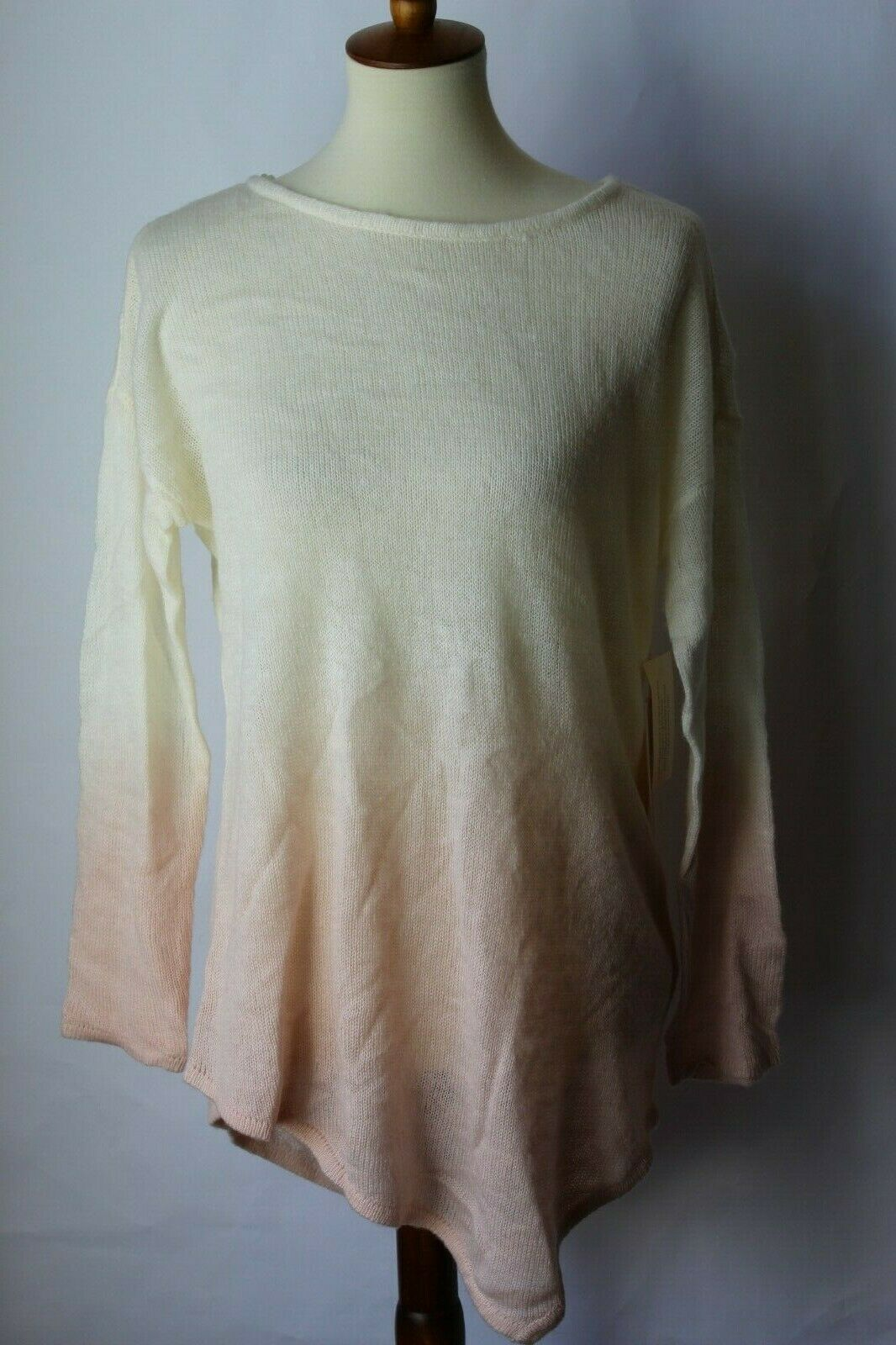 97200742 by Vince Camuto Dip Dyed Asymmetrical Sweater pink Buff (M) NWT Hem ...