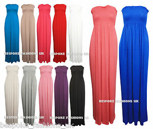 H2B-Women-039-s-Shirring-Gather-Boobtube-Bandeau-Ladies-Summer-Strapless-Maxi-Dress