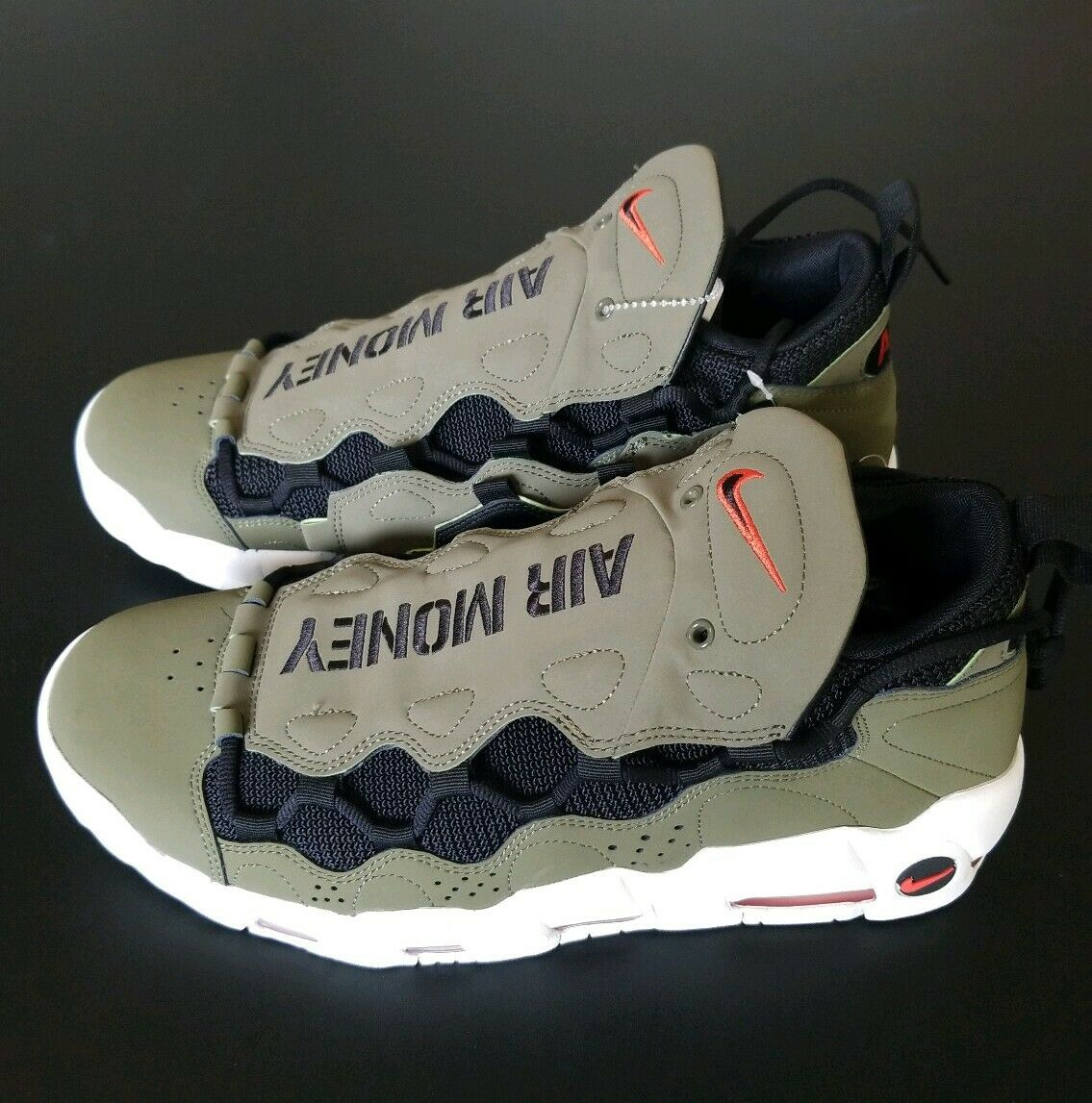 Nike Air More Money (Medium Olive Black-Habablack Red) shoes AJ2998-200 SZ 11.5