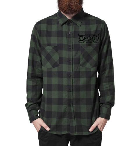 Dragstrip CLOTHING Noir Vert à Carreaux Chemise Hot Rod Tattoo Lumberjack