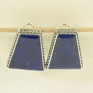 Plata-esterlina-925-grandes-Natural-Azul-Lapislazuli-Omega-pendientes-de-Clip-tpj