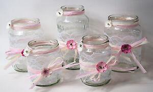 Details Zu 5 Windlichter Vasen Hochzeit Tischdeko Herz Spitze Vintage Taufe Jute Td0071