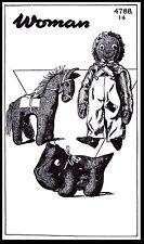 Fabric Sewing PATTERN #4788 Toy Stuffed Animal DOG HORSE & Black Americana DOLL