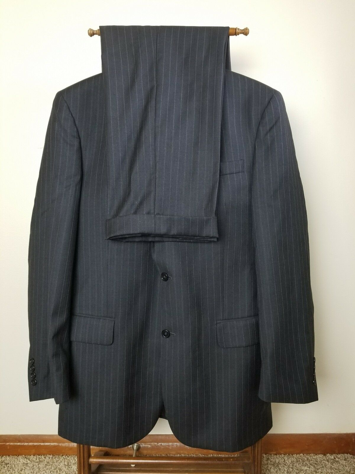 JOS .A BANK SIGNATURE COLLECTION Herren SIZE 40L grau STRIPES SUIT PANTS W32X32.5