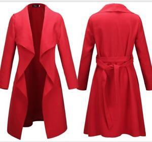 Tøj Coat Cashmere Casual Lapel Blend Kvinders Fuld Langærmet Bælte qx7HOfw8