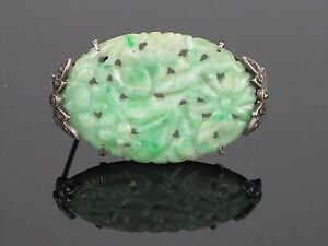 "Art Deco Chinese Carved ""Moss In Snow"" Natural Jadeite Jade Pin/Brooch, 7.3g"