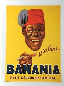 french poster print art deco 1930s 24x18 banana paris happy man
