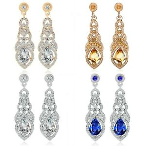 Elegant-Silver-Crystal-Rhinestone-Dangle-Drop-Earrings-Women-039-s-Wedding-Jewelry