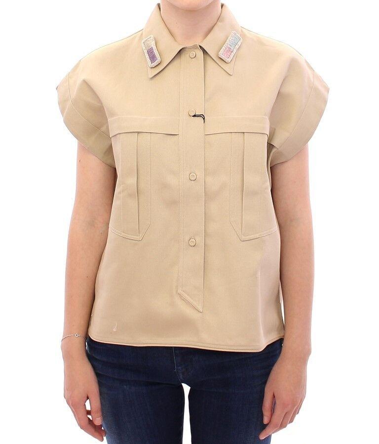 NEW  Andrea Incontri Blouse Top Shirt Beige Sleeveless IT40   US6  EU36   S