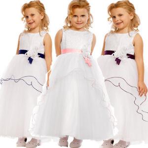 Vestido-Nina-Dama-De-Honor-Flores-Fiesta-Rosa-Azul-Lila-2-3-4-5-6-7-8-9-ANOS