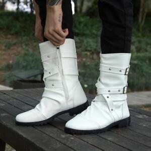 703729daab6a5 New Mens Mid Calf Boots Punk Rivet Buckle Strap Military Combat ...