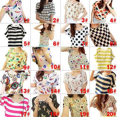 Fashion Women Shirt Chiffon Loose Lady Blouse Short-Sleeved Top Tops