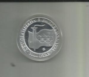 Spain 2000 Pesetas Proof Silver Coin 1992 Olympics Human Pyramid  Crown Prince