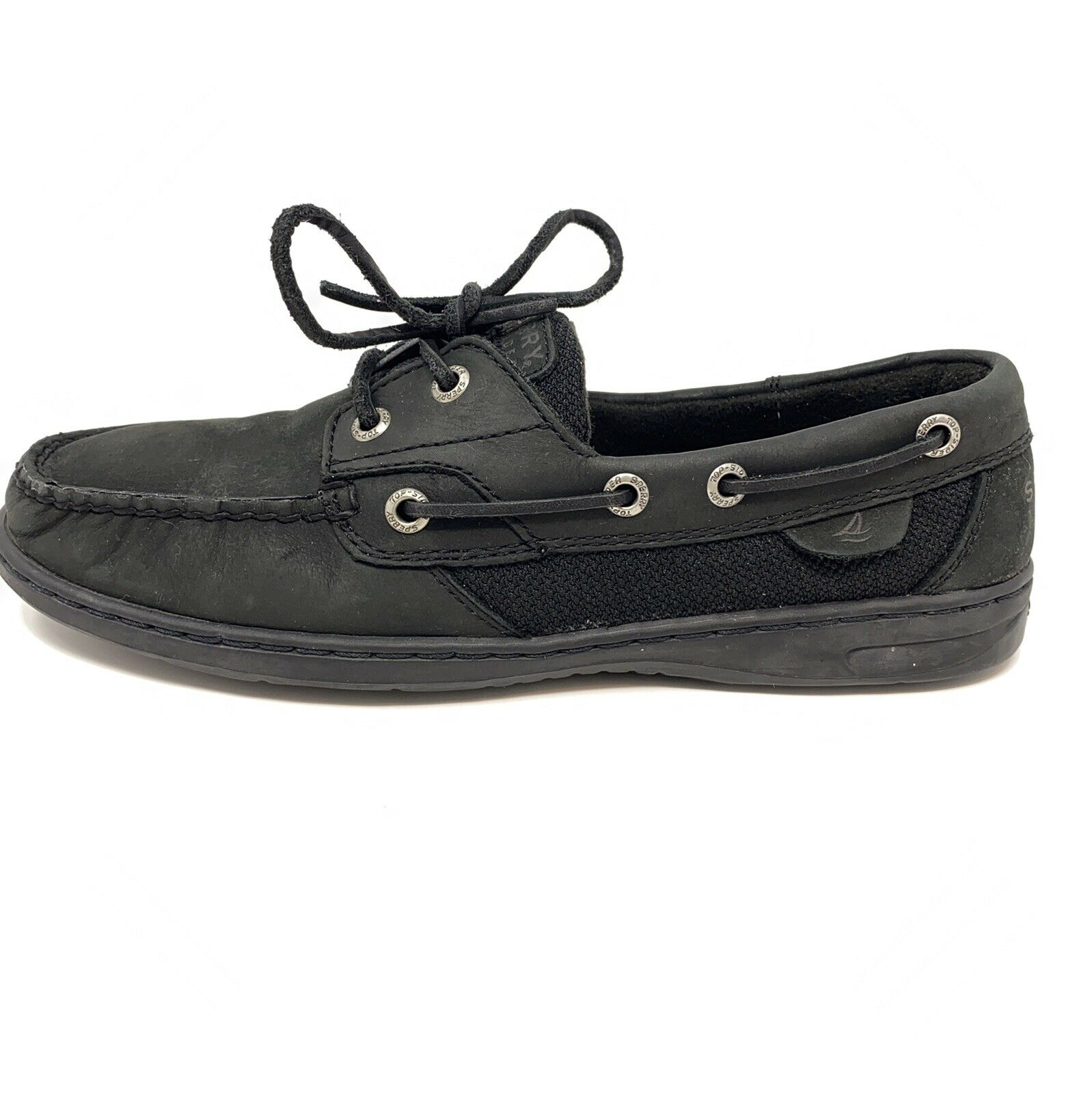 Sperry Top Sider Womens Bluefish 2 Eye 9120205 Black Lace Up Boat Shoes Sz 8 M