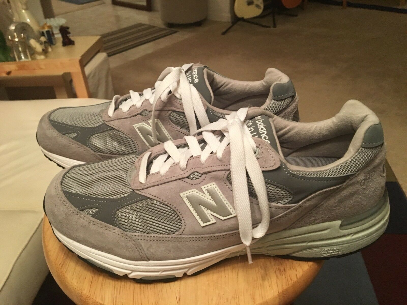 New Balance 993 USA Gray Men's US12.5 Suede Athletic Sneakers Shoes