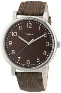 NEW-TIMEX-SILVER-TONE-BROWN-BLACK-EMBOSSED-LEATHER-BAND-INDIGLO-WATCH-T2P221