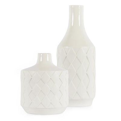 Vasen Set 2 tlg. Relief Naturweiß 14 + 24 cm / Rauten, Vase, Dekoration