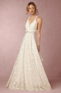 Details about NEW Anthropologie BHLDN Twobirds Noelle Lace Wedding Dress  Bridal Gown Size B
