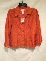 April Cornell Womens Orange Long Sleeve Button Front Shirt Blouse Size S