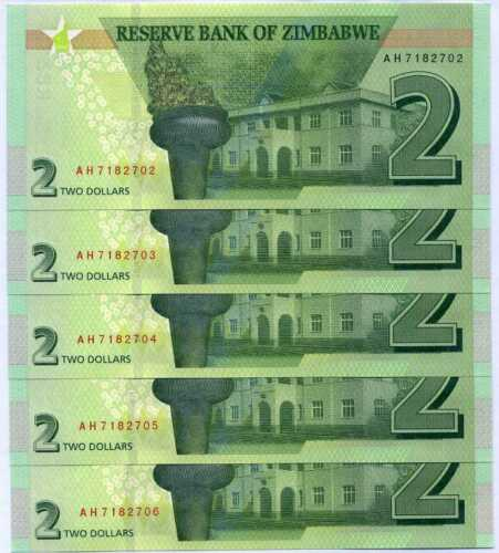 ZIMBABWE 2 DOLLARS 2019 REVISE HYBRID P NEW UNC LOT 5 PCS
