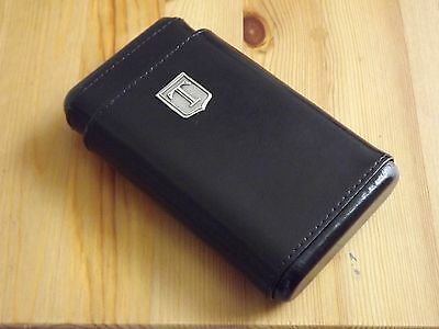 Monogram Personalized Black Leather 4 Finger Cigar Case Cedar Lining Initial T