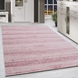 Moderner-Kurzflor-Teppich-Einfarbig-Streifen-Gemustert-Pink-Meliert-Wohnzimmer