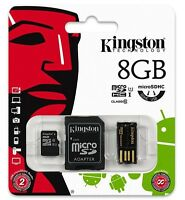 Kingston 8gb Micro Sd Sdhc Class 10 Flash Memory Card + Reader Kit Mbly10g2/8gb