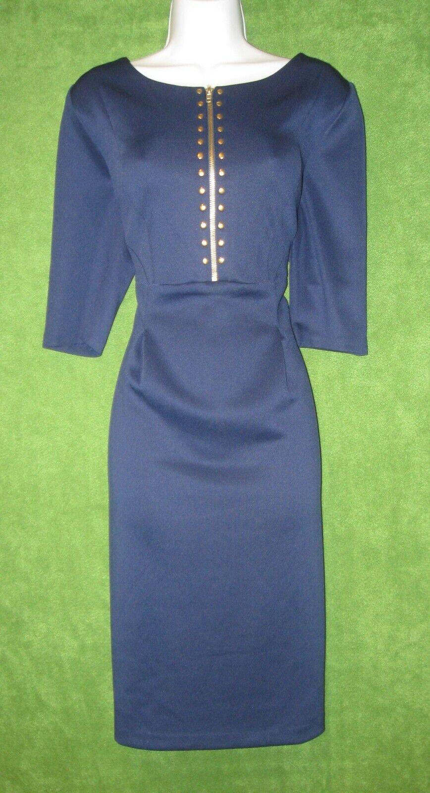 Sangria Navy Blau Gold Studded Stretch Scuba Sheath Work Dress 14  MISC