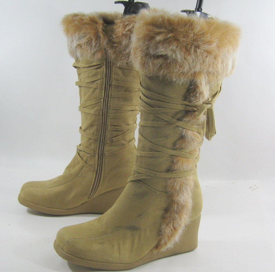 LADIES Camel color 3  Wedge Heel Knee Boots Rabbit Fur On The Top Size 8